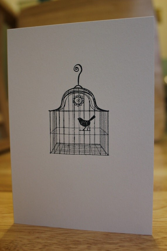 Hand Stamped Nightingale Card