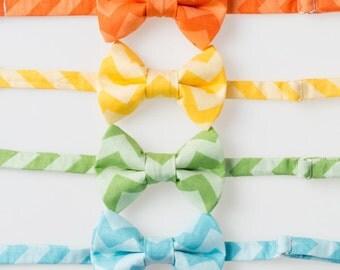 Little Boy Bow Tie - Tone on Tone Chevron - Pink, Orange, Yellow, Green, Blue, or Purple - Choose One - Easter Bowtie