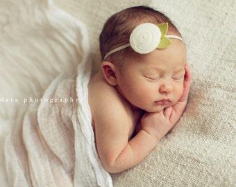 Skinny Headband for baby, White Rosette headband, baby flower headband, infant, toddler, tween, teen, adult, Photography Prop