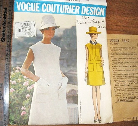 Federico Forquet Sleeveless Inset Dress with Pockets Women's Vintage 1960s Vogue Couturier Design Sewing Pattern 2187 Bust 36 with Label