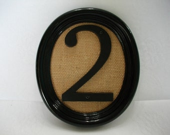Burlap Wall Art / Recycled Gloss Black Oval Frame with Number Two on Natural Burlap / Number Home Decor / Repurposed Decor