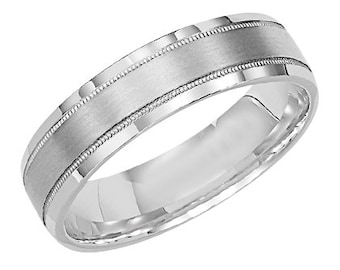 Mens 14k white gold 6MM Wedding Band Ring, Mens White Gold Wedding Band