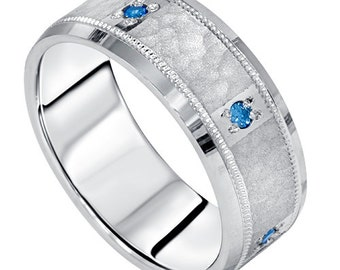 Blue Diamond Hammered Wedding Band Mens Ring 14K White Gold 8MM Comfort Fit