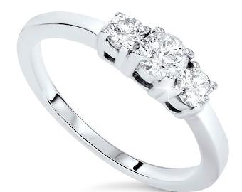 1/4CT 3-Stone Diamond Ring 14 Karat White Gold