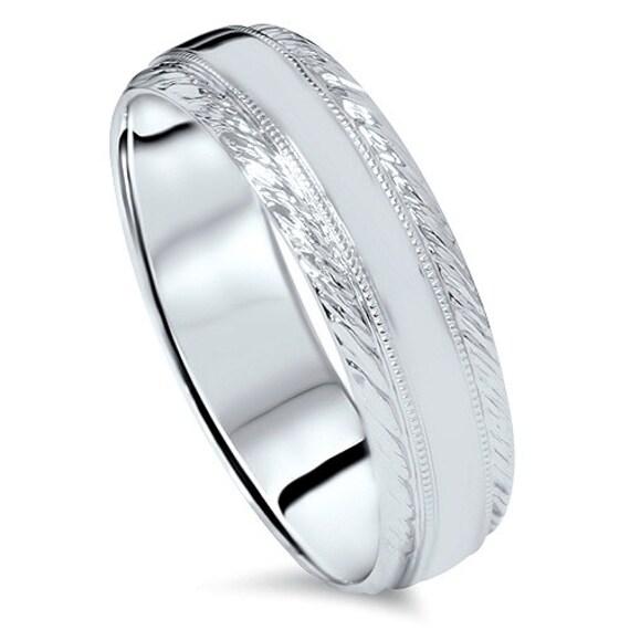 Braided Handmade Mens Wedding Band 14 Karat White Gold KT High