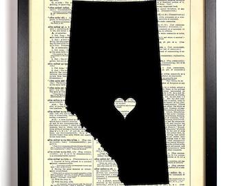 Map Of Alberta, Home, Kitchen, Nursery, Bathroom, Office Decor, Wedding Gift, Eco Friendly Book Art, Vintage Dictionary Print, 8 x 10 in.