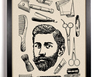 Vintage Bearded Man and Toiletries, Home, Bathroom, Dorm, Office Decor, Wedding Gift, Housewarming Gift, Unique Holiday Gift, Wall Poster