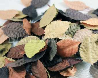100 Mixed color of Brown Tone Handmade Scrapbook Paper Leaves with no stem Code 827