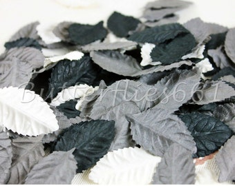 100 Mixed color of Black Grey and White Tone Handmade Scrapbook Paper Leaves with no stem Code 505