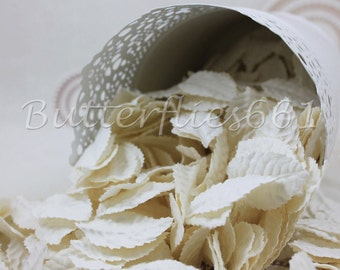 100 White Handmade Scrapbook Paper Leaves with no stem Code 15