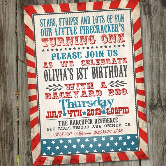 Little Firecracker Fourth Of July Birthday Invitation 4th Of