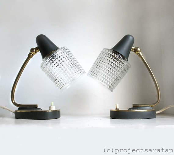 1960s Lamps. Pair of Quirky Midcentury Bedside / Table Lights with textured Glass Lampshades, Charcoal Gray and Brass Detail. Space Age.