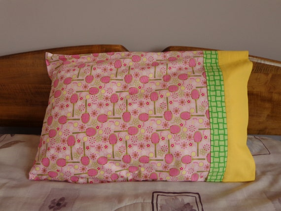 Pillowcase - Tennis Star in Pink, Yellow & Green - Standard Single