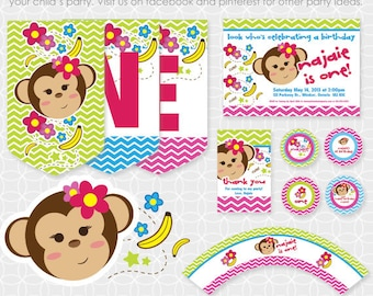 Party Printable Monkey Girl Party Theme Basic Package - Personalized Printable