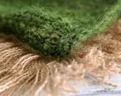 Dark moss green loosely handknit mohair unisex newborn basket filler photography prop - made to order