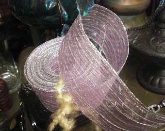 Lavender with Silver Edged Wired Ribbon Three Yards