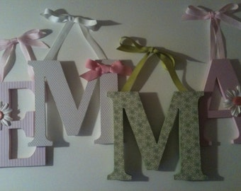 Wooden  nursery letters in  ,pink, green and white  alphabet initials monogram
