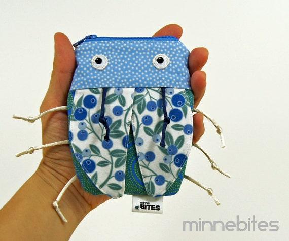 iPod Case by MinneBites / Handmade Gadget Case - Gadget Bag - Blueberry Bug Bag - iPhone Case - Card Holder - Coin Purse - Tooth Fairy Bag