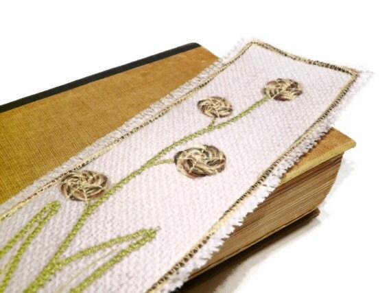 floral bookmark textil and leather beige fiber art bookmark