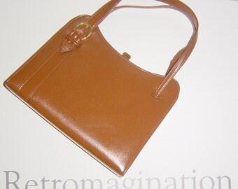 Vintage Brown Leather Elbief Handbag 1960s Mid Century Mad Men Style