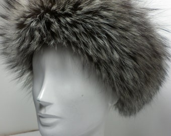 Silver Fox Fur Headband new made in usa