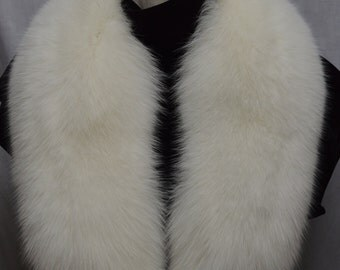 Real Genuine Natural White Fox detachable fur Collar new  made in usa authentic