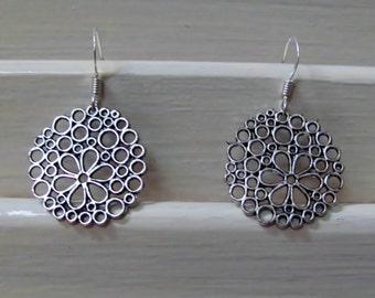 Antique Silver Bubble Flower Earrings