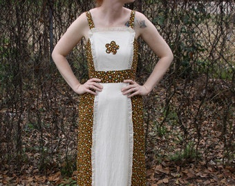 Brown Floral long maxi lace 60s 70s dress