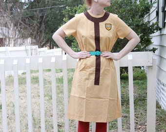 Mustard Yellow Brown Army Air Force Exchange Dress