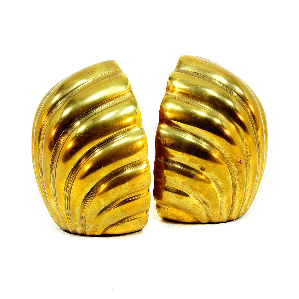 Brass Seashell Bookends, Hollywood Regency, Art Deco Style, Nautical Theme, Shell Bookends from ZoeDesignsVintage on etsy.com