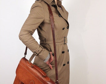 Vintage Women's Beige Mackintosh , Leather Piping and Buttons, Fits UK 6-10