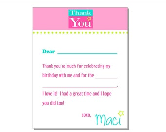 Custom Personalized American Girl Thank You Note Card - DIY Printable File