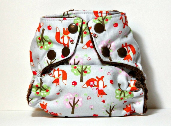 Mr. Fox's Picnic Newborn All In Two Cloth Diaper