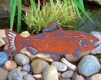 Father's Day Gift Dad  Metal Art  Fishing Floatin' Trout Outdoor Metal Art Sports