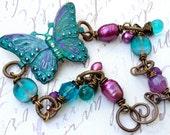 Beautiful Custom Patina'd Butterfly Artisan Bracelet  B513