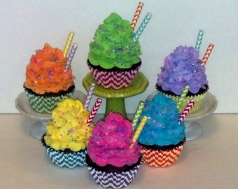 Set of 6 Chevron Fake Cupcakes for Birthday Photo Session Props, Party Decorations, Home Accents, Window Displays