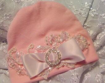 Girl Newborn Baby Pink Hospital Hat Layette Newborn thru 3 months Original Design by Nanajustbananas