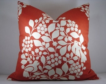 Duralee Pillow Duralee Suburban Tree of Life Decorative Accent Pillow Orange Pillow Terracotta Pillow 20x20 Pillow Cover