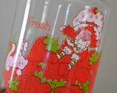 Vintage 1980s STRAWBERRY SHORTCAKE Glass Fresh Canister Cookie Jar with Lid