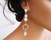Bridal long dangle earring, multi-layered pearl earrings with hoop & tear drop cz on sterling silver post.