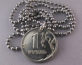 Russia COIN JEWELRY. RUSSIAN ruble rouble. cccp. soviet union coin. spread eagle. ussr. mens jewelry No.001367