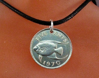 Angel fish necklace .  BERMUDA NECKLACE  - coin  pendant  -   coin jewelry.   No.00926