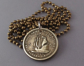CARIBBEAN COIN NECKLACE  - charm  - sail boat ship jewelry -  territories west indies  - nautical jewelry  No.001047