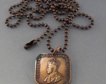 ANTIQUE coin necklace Straits SETTLEMENTS . coin jewelry . Mens coin jewelry. Mens necklace . choose year . copper coin No.001401