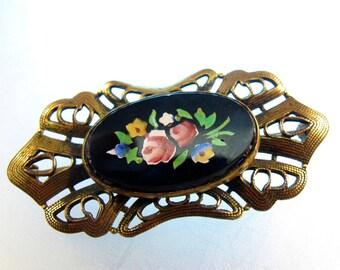 VICTORIAN MOSAIC BROOCH. antique brooch. No.001519