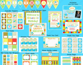 Boy CANDY SHOPPE Birthday Party decorations candyland  Printable Package blue lime green yellow red orange