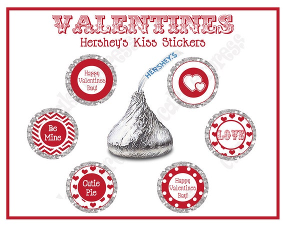 INSTANT DOWNLOAS diy Be Mine Valentines Party  PRINTABLE Hershey's Kiss Labels  stickers red white hearts