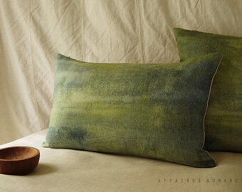 "Landscape lawn green pillow. Bring nature in linen oblong pillowcase. 14""x 22"" ... Seen from train  /  FRAGMENTS"