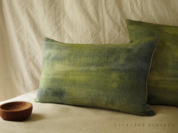 "Landscape lawn green pillow. Bring nature in linen oblong pillowcase. 14""x 22"" ... Seen from train  /  FRAGMENTS"