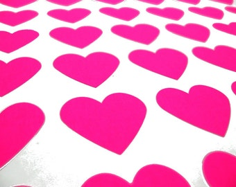 "108 Neon Pink Heart Stickers - 3/4"" x 3/4"""